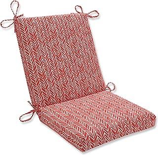 Pillow Perfect Outdoor   Indoor Herringbone Tomato Squared Corners Chair Cushion