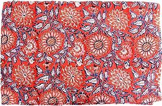 Handicraft-Palace Indian Cotton Fabric Hand Block Print Sewing Material Craft by Yard Floral Running Natural Sanganeri Print Fabrics (Red) (5 Yard)
