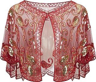 ArtiDeco - Chal de los años 20 para vestidos de noche, estola para bodas, mantón para fiestas o disfraces
