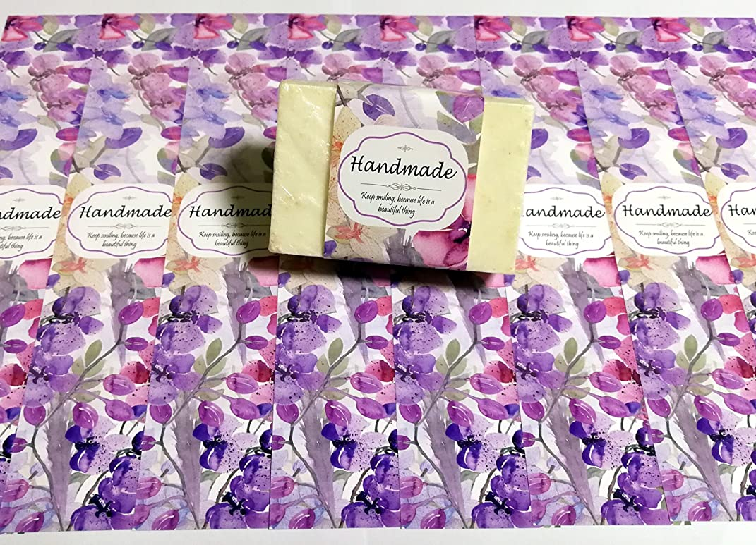 ZZYBIA Wrap Paper Tape for Homemade Soap Bar Handmade Products 20pcs (Vertical 2 - Purple Floral)
