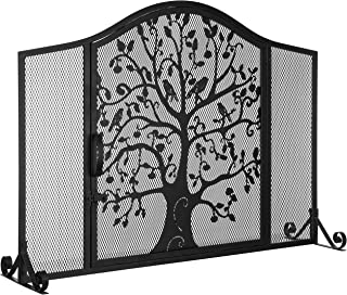 MyGift Black Wrought Iron Fireplace Screen Door with Silhouette Tree & Bird Design