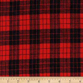 Textile Creations Black/Red Windstar Twill Flannel Plaid Fabric by The Yard
