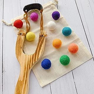 wooden slingshot with felt balls