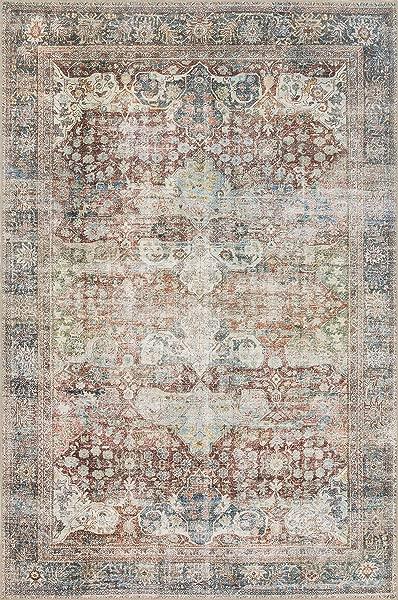Loloi LQ 14 Loren Collection Vintage Printed Persian Area Rug 2 6 X 7 6 Runner Brick Multi