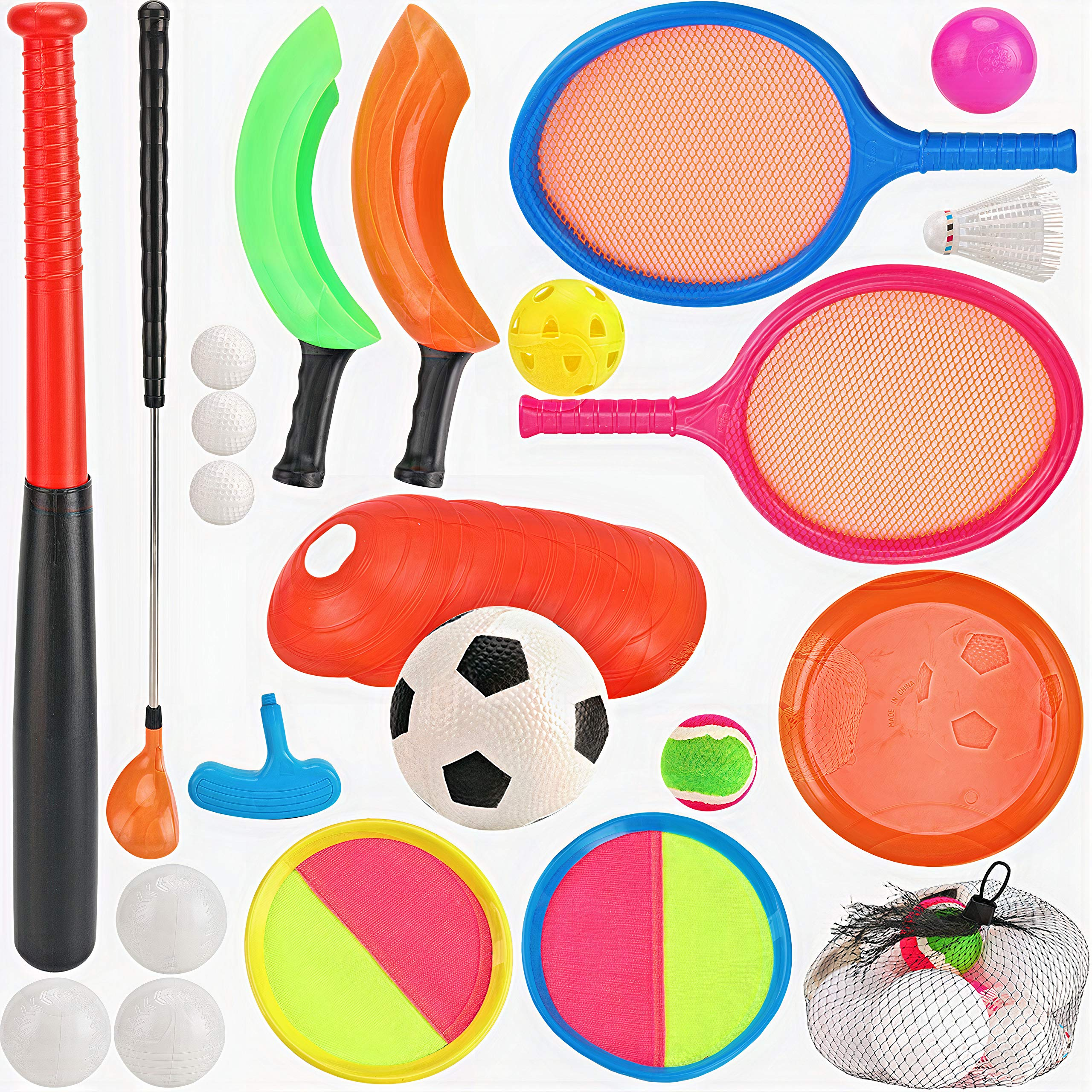 7 in 1 Outdoor Sports Games Combo Multipack Set   Baseball, Golf, Soccer, Badminton, Scoop Ball, Paddle Toss and Catch Ball, Flying Disc   Outdoor Play Toys for Kids