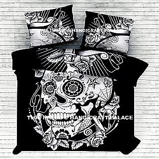 HANDICRAFT-PALACE Skull RIP-Thru - Duvet Cover Set for Queen Bed Doona Cover Indian Mandala Throw Duvet/Doona/Blanket/Quilt Cover Set Double/Queen Size Bed Cotton