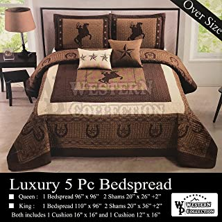Western Collection New 5 Pieces Western Stars and Horses Cowboy Luxury Home Quilt Bedspread Oversize Comforter with Cushions (King, Brown Horse)