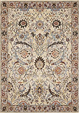 GLORY RUGS Oriental Area Rug 8x10 Traditional Bedroom Living Room Dining Swirls Carpet Vintage Persian Floral Texture Hand Touch Texture 6909A Gabbeh Collection (Cream)