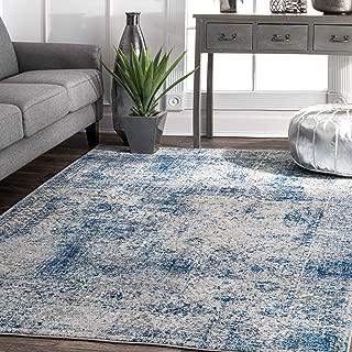 nuLOOM Willena Vintage Square Rug, 8' Square, Blue