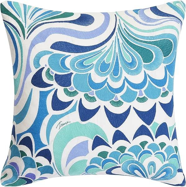 Trina Turk USHSA71050554 Avalon Lotus Embroidery Throw Pillow 20 Inch Turquoise Aqua