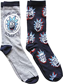 Hyp Rick and Morty Schwifty Men's Crew Socks 2 Pair Pack Shoe Size 6-12