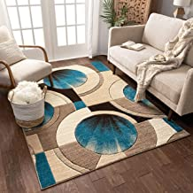 Brown And Blue Geometric Rugs