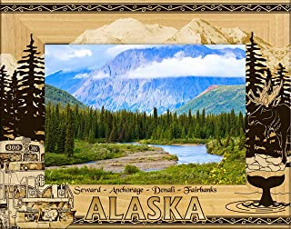 Alaska Cities Laser Engraved Wood Picture Frame (5 x 7)