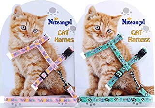 Niteangel 2 Pack of Adjustable Cat Harness & Leash Set