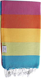 Plush Yarn Rainbow Peshtemal Turkish Made Bath/Beach Towel, 100% Authentic Premium Turkish Cotton 100cm x 180cm (Summer)