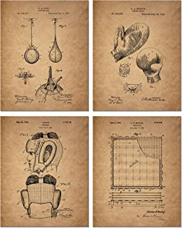 Boxing Patent Art Prints - Set of 4 (8 inches x 10 inches) Photos - Vintage Decor
