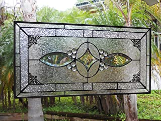 Stained Glass Transom Window, Traditional Beveled Stained Glass Panel, Unique Handmade Antique Window Valance, Vintage Look Stained Glass