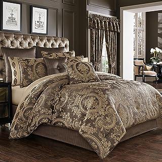 Five Queens Court Neapolitan Woven Puff Jacquard Luxury 4 Piece Comforter Set, Mink, King 110x96