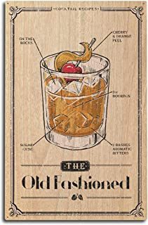 Lantern Press Prohibition - Cocktail Recipe - Old Fashioned (10x15 Wood Wall Sign, Wall Decor Ready to Hang)