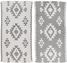 Bersuse 100% Cotton Palenque Dual-Layer Handloom Turkish Towel - 39X71 Inches, Silver Gray