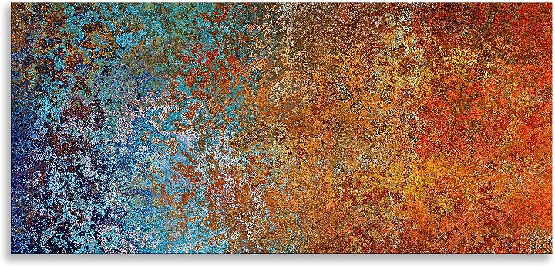 Kunstdruck auf Leinwand, abstrakte Kunst, Blau (, Wandbild für Wohnzimmer, Badezimmer, Schlafzimmer, Küche, Einzelbett, blau Orange, 60  x 28  (152 cm x 71 cm)