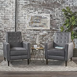 Christopher Knight Home Mason Mid-Century Modern Tuft Back Recliner (Qty of 2, Microfiber/Slate), Set of 2