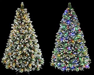 HOLIDAY STUFF Super Dual Flocked Pine Christmas Tree Pre-lit with Color Changing LED Lights (6ft Pre-lit)
