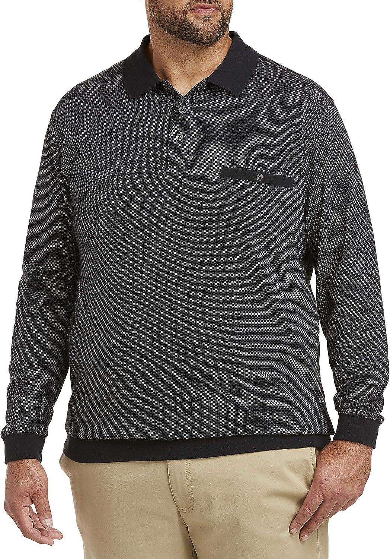 Harbor Bay by DXL Big and Tall Small Check Banded Hem Polo Shirt, Black