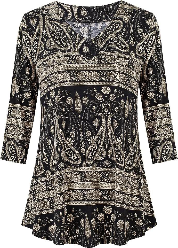 kissmay Womens 3/4 Sleeve Casual Long Tunics Top Plus Size Floral V Neck Shirts