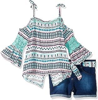 Limited Too Conjunto de 2 Piezas de Parte Superior y pantalón Corto con cinturón para niñas