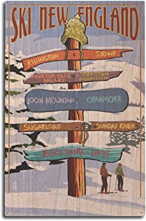 Lantern Press New England - Ski Areas Destinations Sign (10x15 Wood Wall Sign, Wall Decor Ready to Hang)