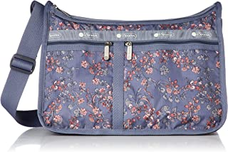 LeSportsac Laelia Dusk Deluxe Everyday Crossbody Bag + Cosmetic Bag, Style 7507/Color F425, Plum Bag w Pink & Plum Laelia Orchids