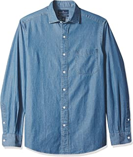 Buttoned Down mens Classic-fit Indigo Chambray Cotton Sport Shirt