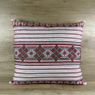 Traditional Ukrainian Boho Throw Pillowcover Hand Embroidered, Red black Cushion Covers, Decorative Throw Pillow Case Extra Large