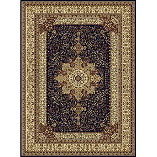 Large Luxury Silk Traditional Rug For Living Room Navy Red Cream Green Beige Colors Rug 8x12