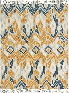 Amazon Brand – Stone & Beam Modern Global Ikat Wool Area Rug, 8 x 10 Foot, Blue
