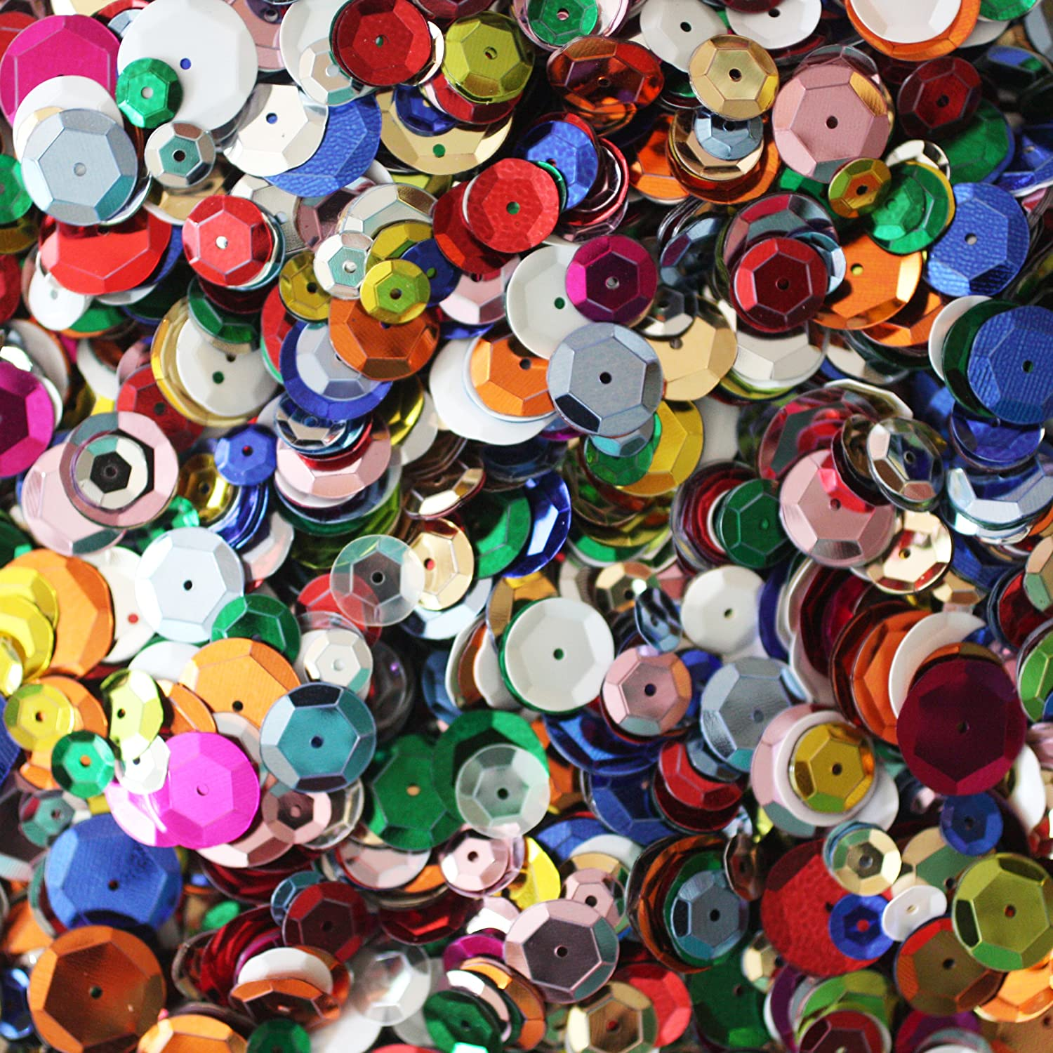 BULK CRAFT CUP SEQUINS MIXED COLORS and SIZES ~ Great Big Pack ~ Over 20,20  sequins
