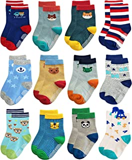 RB-71317 Non Skid Anti Slip Slipper Cotton Striped Crew Dress Socks with Grips for Baby Toddler Boys