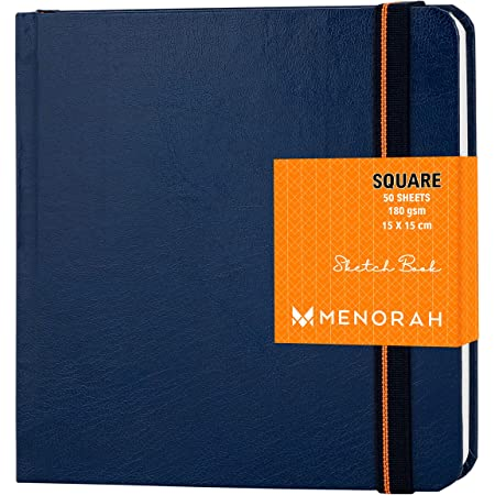 MENORAH - Sketch Book for Artist - Square - 180 GSM - Square Sketchbook - for Drawing - Hard Bound - 100 Pages/50 Sheets - (15.0 x 15.0 cm)