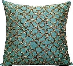 Decorative Cushion Covers 45 x 45 cm Blue, Silk Throw Pillow Covers, Handmade Cushion Covers, Geometric Throw Pillow Cover...
