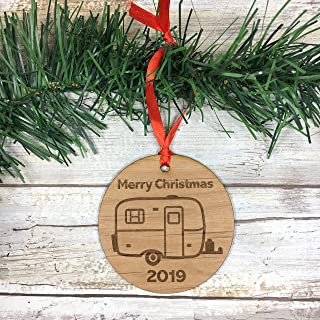 Small Egg Camper 2019 Merry Christmas Ornament