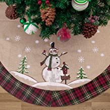 Valery Madelyn 48 inch Farmhouse Red Green White Burlap Christmas Tree Skirt with Snowman and Tartan Trim, Themed with Christmas Ornaments (Not Included)