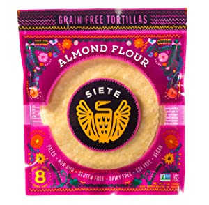 Siete Almond Flour Tortillas, 7 Ounce (Pack of 1), 8 ct (Frozen)