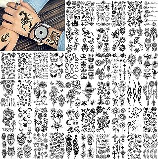 FANRUI 52 Sheets Creative Black Tiny Crown Infinity مثلث تاتو تقلبی برای مردان زنان ستاره های واقع گرایانه حروف تاتو برای کودکان تاتو بازوی ضد آب موقت دستان صورت صورت گردن تاتو برچسب های تاتو
