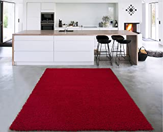 Cozy Shag Collection Red Solid Shag Rug (3'3