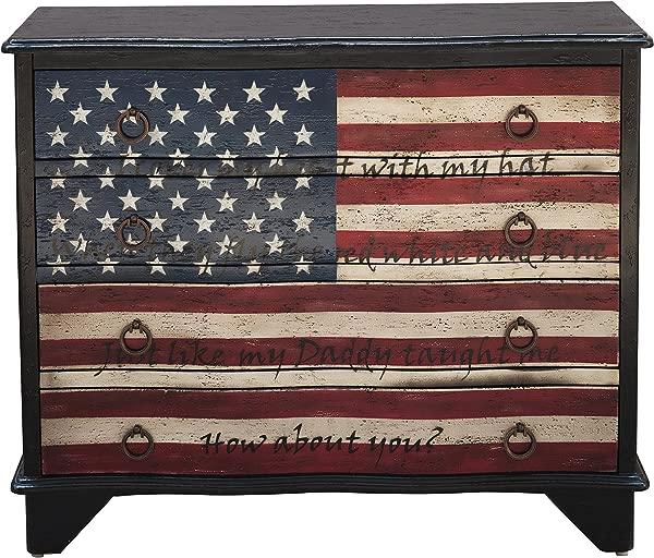 Pulaski DS D153 017 Traditional Styled American Flag Four Drawer Accent Storage Eric Church Lyrics Chest Black