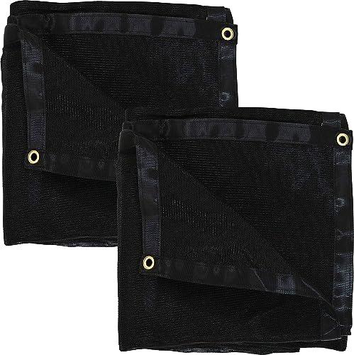 popular Sunnydaze lowest 12-Foot x 20-Foot Set of 2 sale Mesh Tarps, Multi-Purpose UV-Resistant Black High-Density Polyethylene online