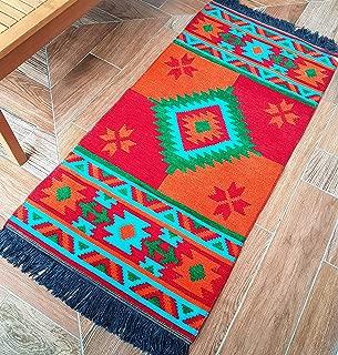 Secret Sea Collection, Southwest Style Area Rug, Cotton, (2' x 4' feet) (Red, Orange, Turquoise)