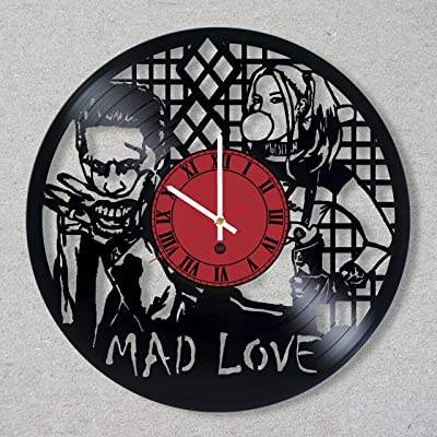 Vinyl Record Wall Clock Joker Leto Harley Quinn Arkham Asylum Gotham decor gift ideas for friends