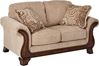 Ashley Furniture Signature Design - Lanett Loveseat Sofa - 2 Seat Traditional Couch with Oversized Pillow Back - Barley